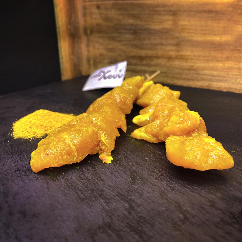 Pinchos de pollo curry